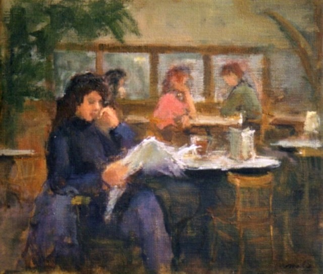 Young woman in 'Café de Engel'