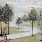 textiel schilderij 'bloemetjes plukken