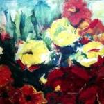 Acryl schilderij 'Rood/gele bloemen