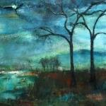 Acryl schilderij `Klein landschapje met bomen`