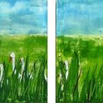 Acryl schilderij `4-luik gansjes'