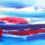 Acryl schilderij `Landschapje met rode palen`