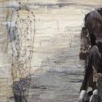 textiel schilderij 'tegenstelling'