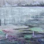 textiel schilderij 'grijs landschap'