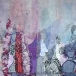 textiel schilderij 'wachten op.....'