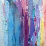 textiel schilderij 'alleen/eenzaam'