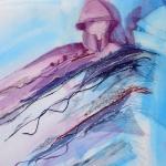 textiel schilderij 'stormachtige ontmoeting'