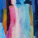 textiel schilderij 'samen`