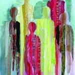 textiel schilderij 'zes lange mensen`