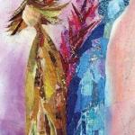 textiel schilderij 'uit elkaar`