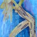textiel schilderij 'golden girl`
