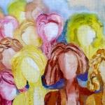 textiel schilderij 'vrouwen laten zich niet in een hoekje douwen`
