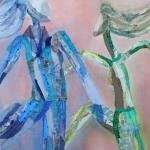 textiel schilderij 'pas de deux`