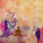 textiel schilderij 'memories uit India`
