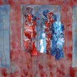textiel schilderij 'mensen`