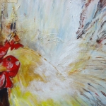 Acryl schilderij 'Kippekop'