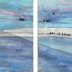 Acryl schilderij 'Vogels op hoogspanningskabel' 4 luikje