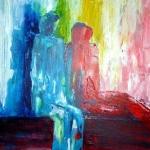 Acryl schilderij `Zittende mensfiguren'