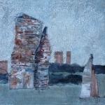 Acryl schilderij ' Landschapje blauw-grijs'