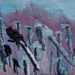 """textiel schilderij """"Lisdodden"""""""