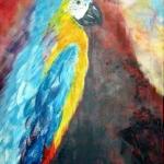 Acryl schilderij 'Papegaai'