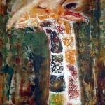 Acryl schilderij `Giraffe'