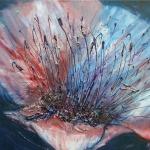 Acryl schilderij `Grote bloem met meeldraden'