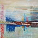 Acryl schilderij `Mistig landschap'