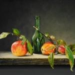 Stilleven met appeltak en fles