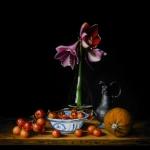 Stilleven met amaryllis en sierappeltjes