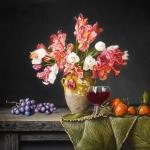Stilleven met tulpen mandarijnen en druiven