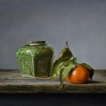 Stilleven met gemberpotje en mandarijn