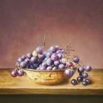 Druiven in roestig schaaltje