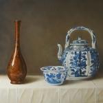 Chinees Kraak `klapmuts' kommetje en Kraak wijnpot en bronzen vaas