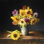 Stilleven met meerkleurige zonnebloemen (2)