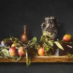 Stilleven met appels bemoste stenen en kruik