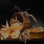 Stilleven met mand en maiskolven