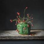 Gemberpot met rozenbottels