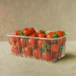 Aardbeien in plastic bakje