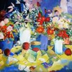 vrolijke potten bloemen
