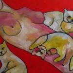Vrouw met 3 katten