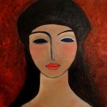 Meisje met zwarte baret