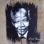 Portret Nelson Mandela steigerhout