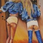 Meisjes voor het raam