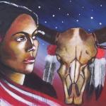 Indiaanse vrouw met schedel