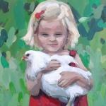 Meisje met witte kip