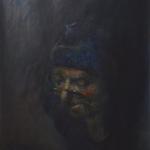 oude vrouw met bijbel (naar rembrandt)