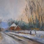 Winterlandschap, elzendweg Bergharen