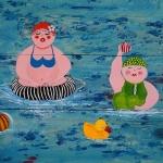 Dikke Dames Sportief in het zwembad