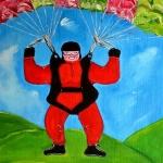 Dikke Dame Sportief met de Parachute